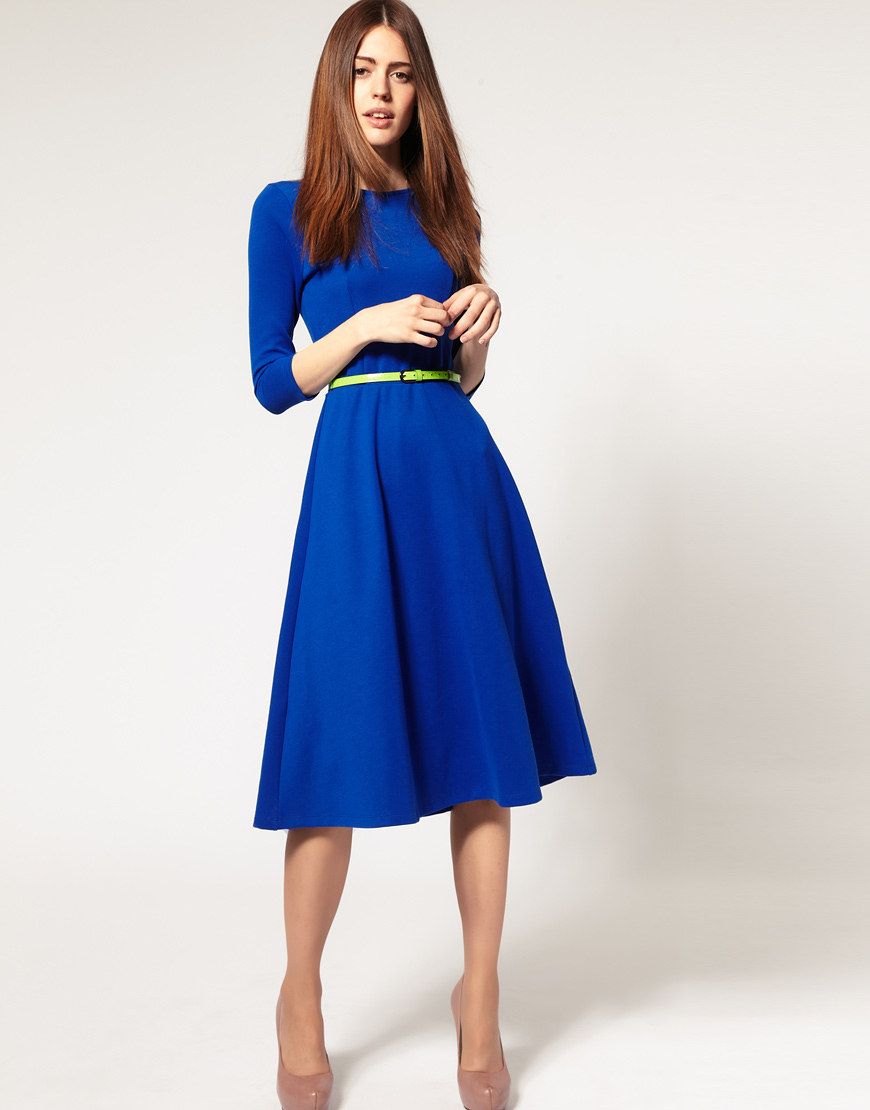 Asos Collection Asos Peplum Top In Sequin In Natural: ASOS Collection Asos Midi Dress With Belt In Blue