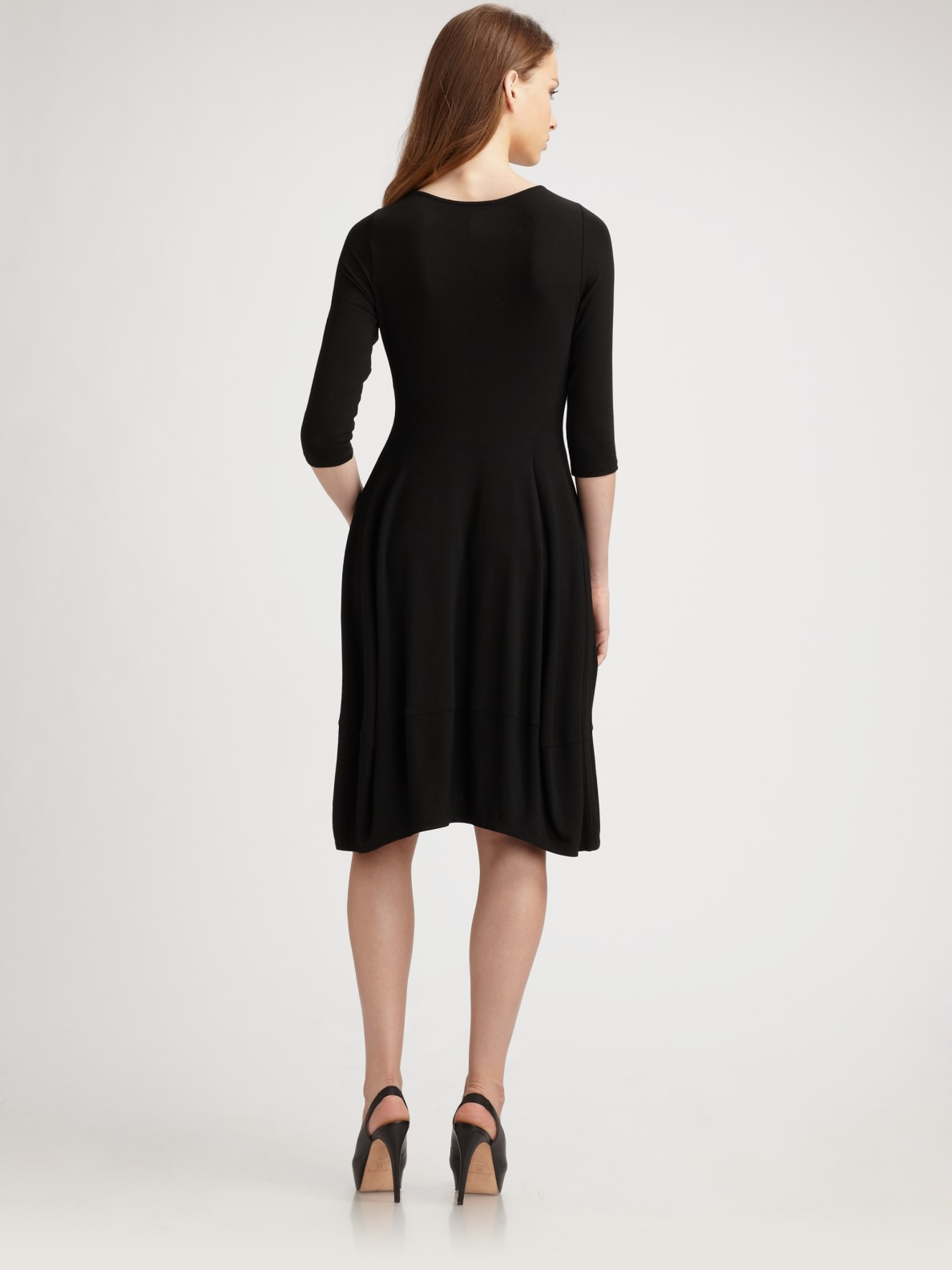 Lyst Eileen Fisher Stretch Jersey Dress In Black