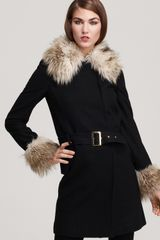 Juicy Couture Belted Coat with Faux Fur Trim - Lyst