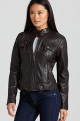 Michael Kors Michael Zip Front Vintage Leather Jacket - Lyst