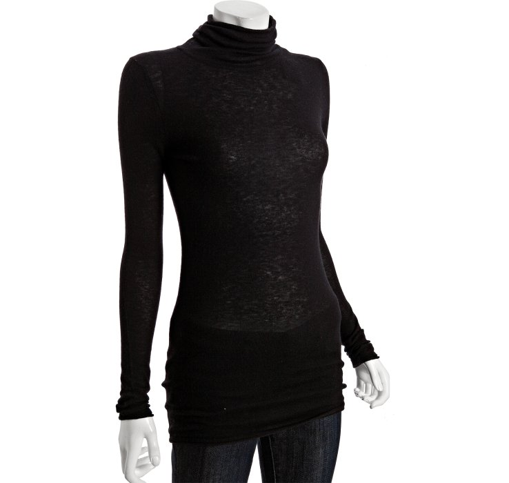 Bcbgmaxazria Black Cashmere Turtleneck Tunic Sweater in Black | Lyst