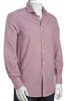 Brunello Cucinelli Burgundy Gingham Cotton Long Sleeve Button Front Shirt - Lyst