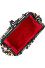 Christian Louboutin Mini Loubi Lula Animalprint Silk Frame Clutch in Multicolor (animal) - Lyst