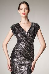 Donna Karan New York Sequin Embellished Top - Lyst