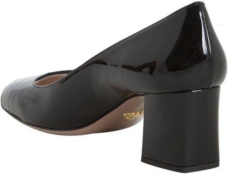 Prada Black Patent Leather Block Heel Pumps In Black Lyst