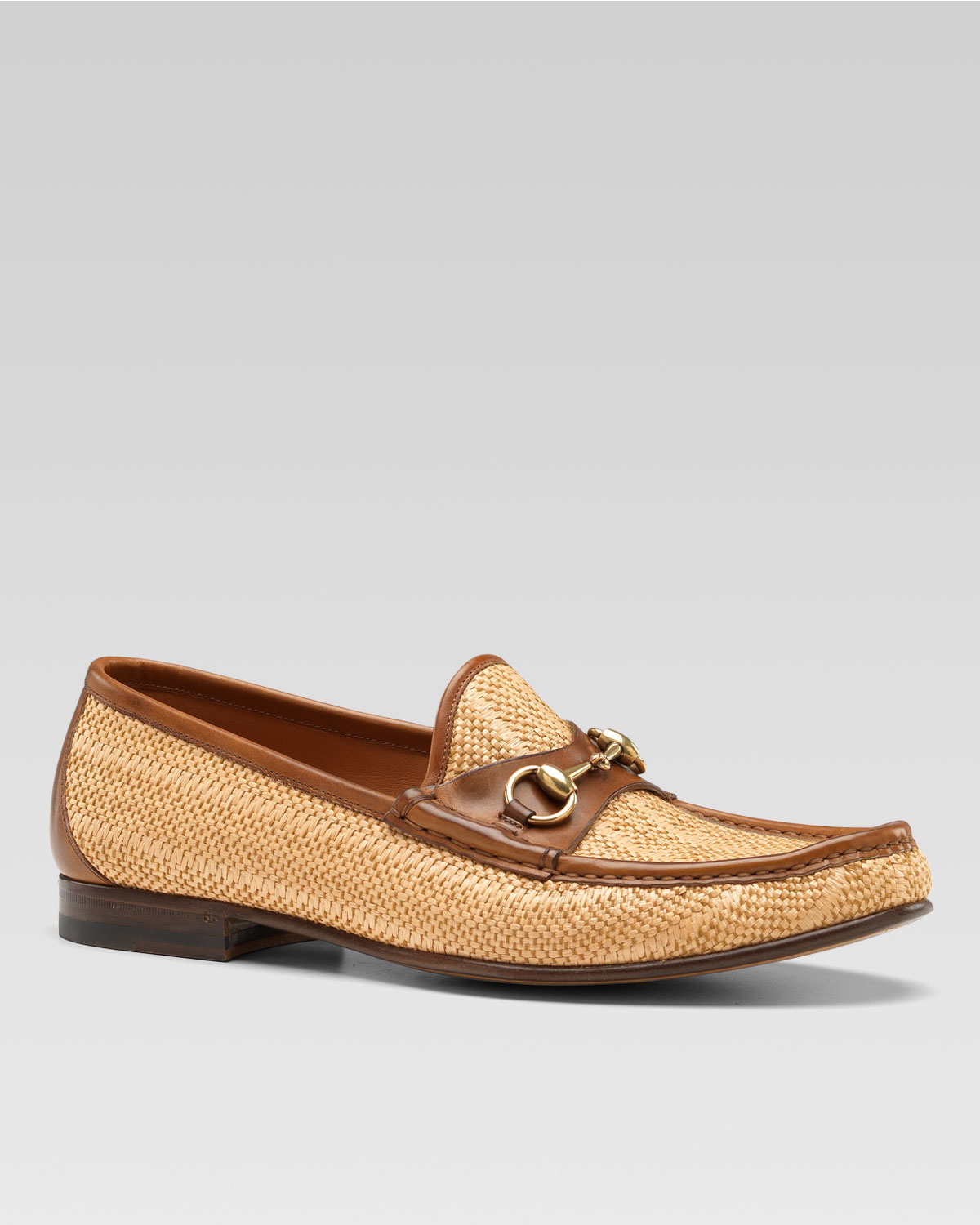 3ad9c17bb89 Lyst - Gucci Hannover Straw Bit Loafer in Natural