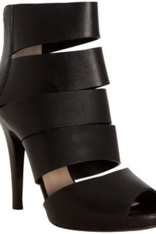 Michael Kors Black Leather Banded Peep Toe Booties - Lyst