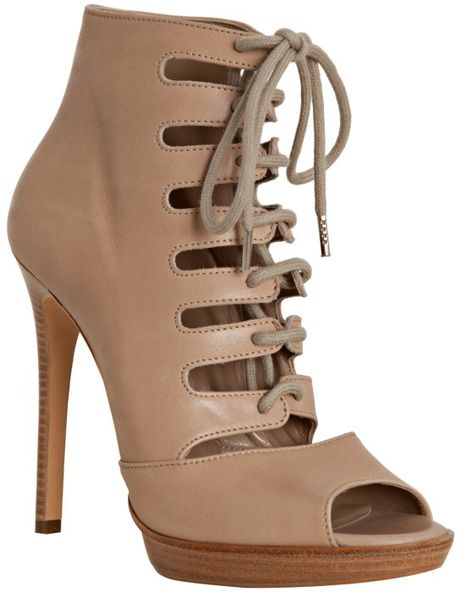 Michael Kors Tan Leather Laceup Peep Toe Booties in Brown (tan) - Lyst