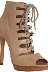 Michael Kors Tan Leather Lace-up Peep Toe Booties - Lyst