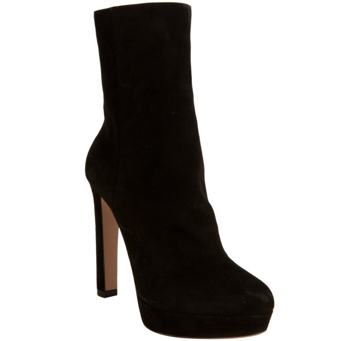 prada black suede pointed toe boots in black lyst
