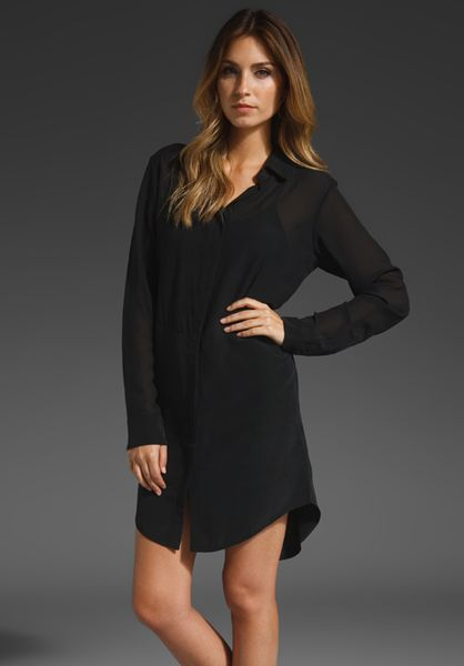 T By Alexander Wang Silk Gauze Shirt Dress in Black - Lyst