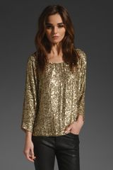 Vince Pure Gold Sequin Tee - Lyst