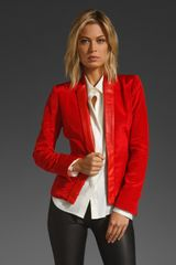 Z Spoke by Zac Posen Jacket with Leather Detail At Lapel - Lyst