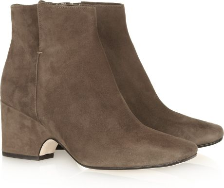 calvin klein suede ankle boots in brown lyst
