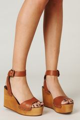 Free People Alisa Ankle Strap Platform in Brown (cuoio) - Lyst