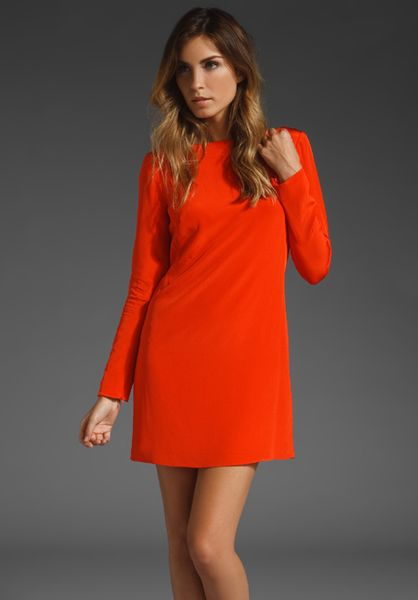 Tibi Silk Shift Dress in Red - Lyst