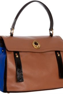 Yves Saint Laurent Brown Colorblock Leather Muse Two Satchel - Lyst