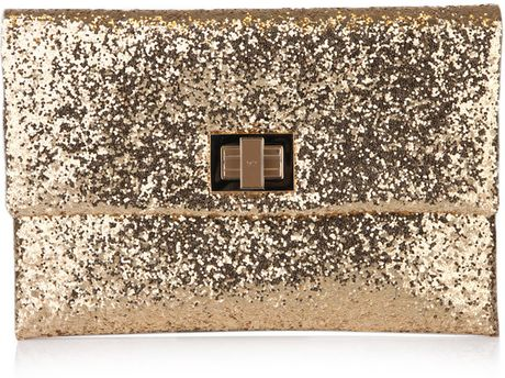 Anya Hindmarch Valorie Glitter Envelope Clutch in Gold - Lyst