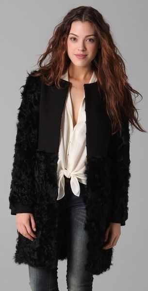 Elizabeth And James Tilda Shearling Combo Coat in Black - Lyst