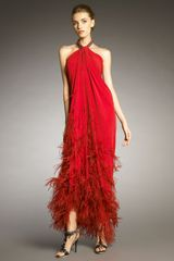 Lanvin Feather-applique Halter Gown - Lyst