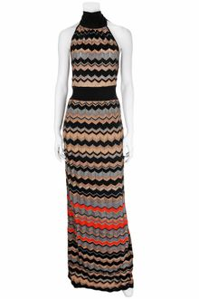 M Missoni Metallic Stripe Maxi Halter Dress - Lyst