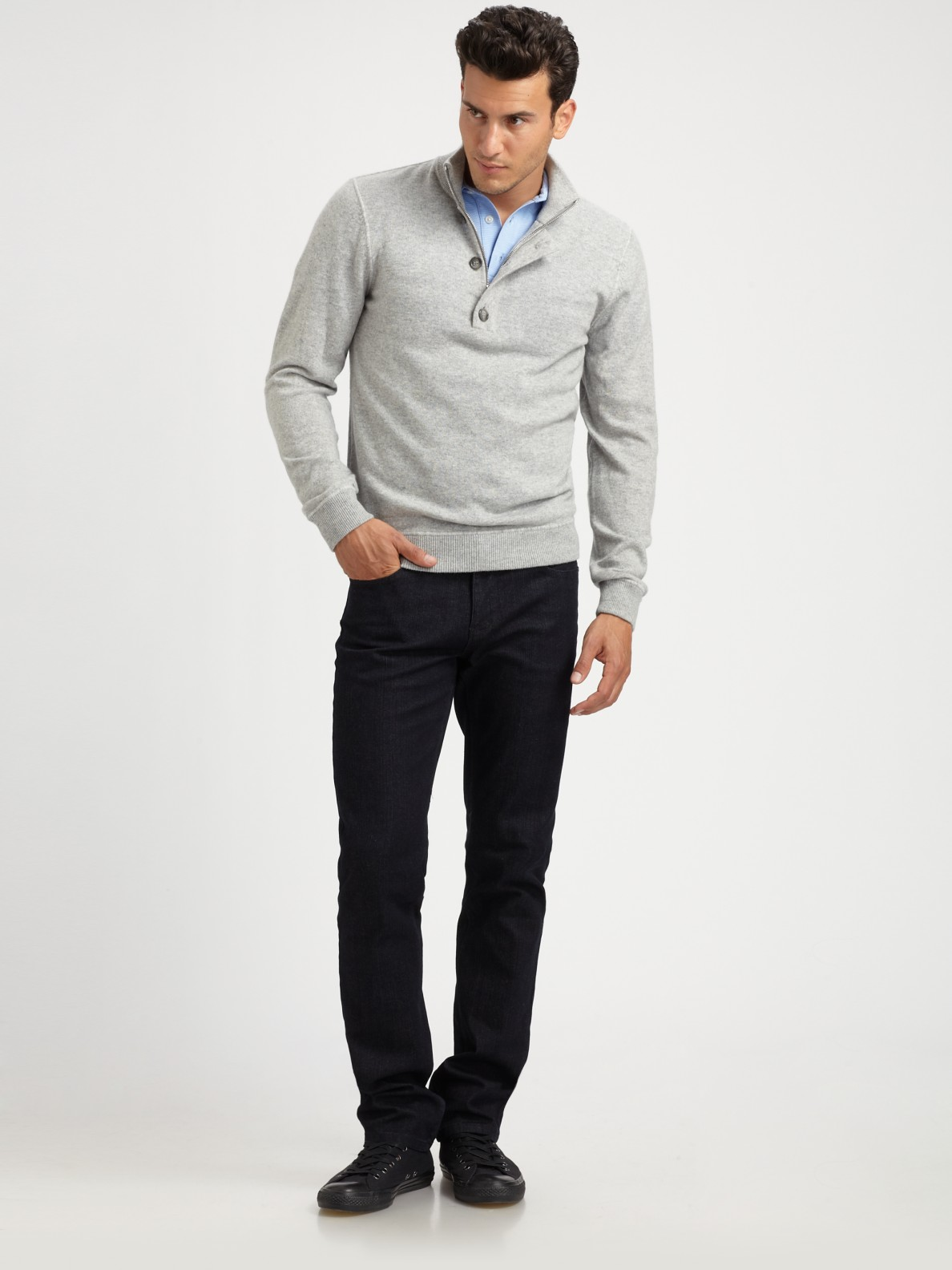 Michael kors Wool/cashmere Half-zip Sweater in Gray for Men | Lyst