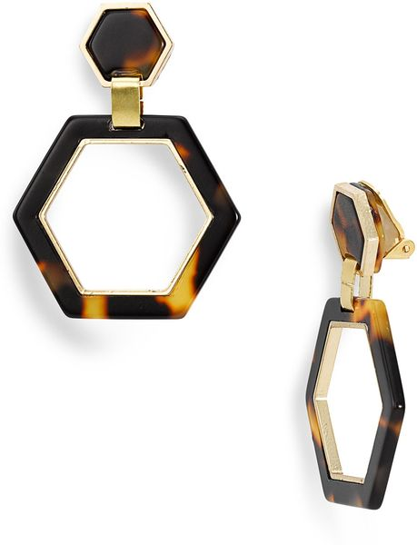 Tory Burch Hexagon Link Clip Earrings in Animal (tortoise)
