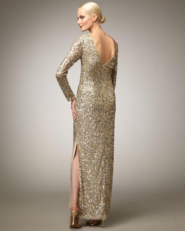 Aidan Mattox Long Sleeve Sequin Gown In Metallic Lyst