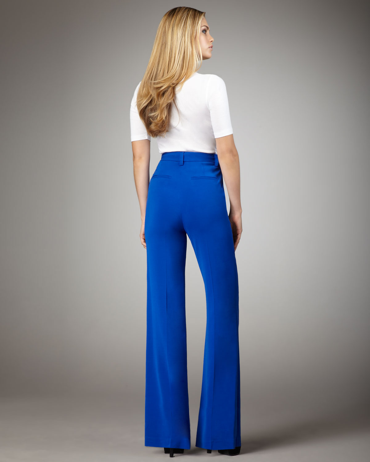 Alice   olivia High-waist Wide-leg Pants in Blue | Lyst