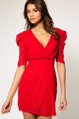 ASOS Collection Asos Cross Over Tulip Dress with Ruched Sleeves - Lyst