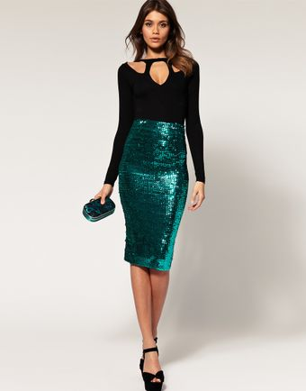 ASOS Collection Asos Pencil Skirt in Sequins - Lyst
