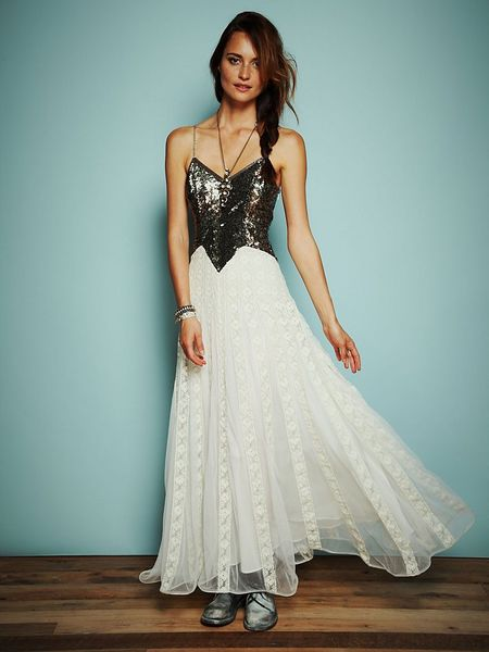 Free People Kristins Limited Edition Glamour Dress in Black (ivory combo)