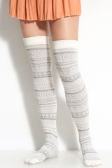 Free People Fair Isle Over The Knee Socks - Lyst
