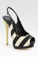 Giuseppe Zanotti Canvas and Leather Slingbacks - Lyst