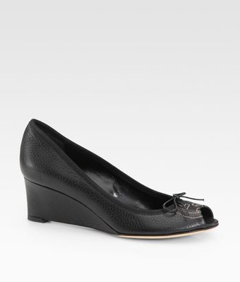 Gucci Soho Leather Peep Toe Wedge Pumps - Lyst