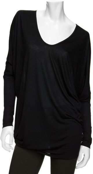 Helmut Lang Exclusive Batwing Drapey Long Sleeve Tee in Black - Lyst