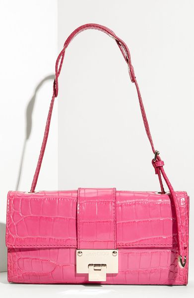 Jimmy Choo Baguette Shoulder Bag in Pink (fuchsia)