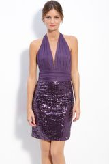 Mark + James By Badgley Mischka Mark & James Mesh & Sequin Halter Dress - Lyst