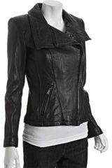 Michael by Michael Kors Black Asymmetrical Zip Leather Moto Jacket