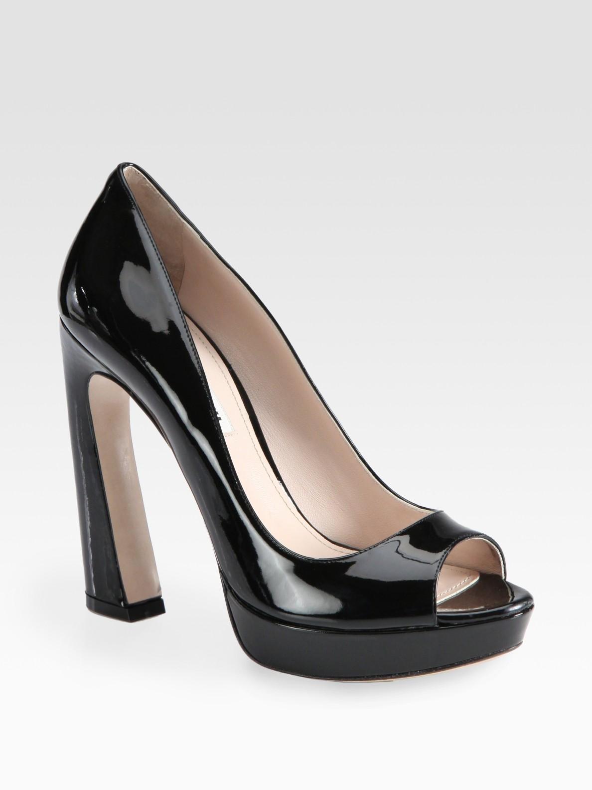 6435af929e8 Lyst - Miu Miu Patent Leather Peep Toe Flared Heel Pumps in Black
