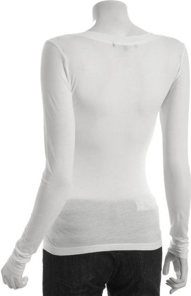 Rebecca beeson white cotton v neck long sleeve t shirt in for Long white v neck t shirt