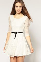 River Island  Belted Lace Dress in Beige (cream) - Lyst