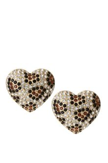 River Island Leopard Heart Earrings - Lyst