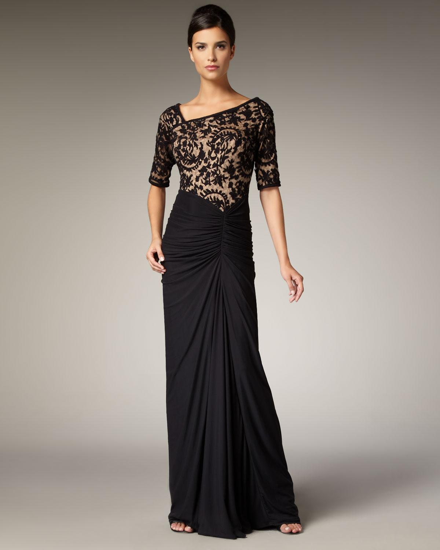 Lyst - Tadashi Shoji Lace Bodice Gown in Black