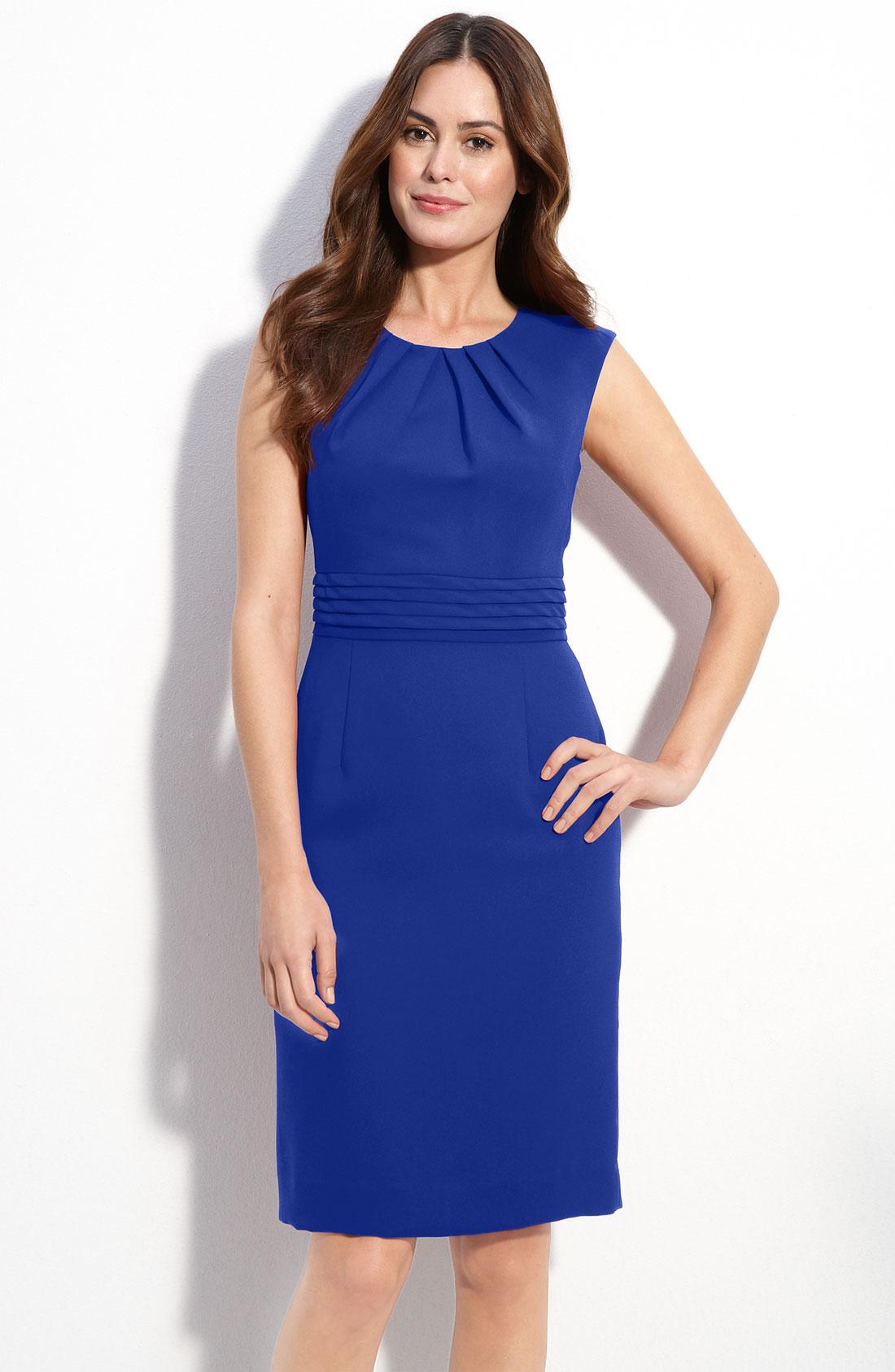Tahari Pleat Detail Crepe Sheath Dress in Blue | Lyst