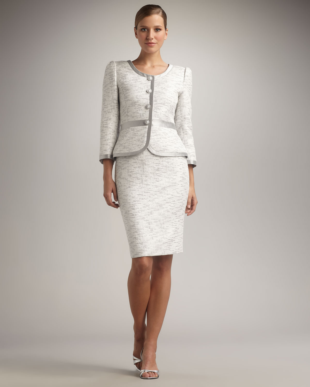Lyst - Tahari Silver-trimmed Skirtsuit in White