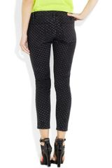 Current/elliott The Stiletto Polkadot Lowrise Jeans in Black - Lyst