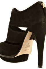 Fendi Black Suede Cutout Platform Booties in Black - Lyst
