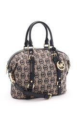 Michael by Michael Kors Medium Bedford Monogram Satchel, Beige/black - Lyst