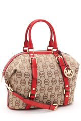 Michael by Michael Kors Medium Bedford Monogram Satchel, Beige/red - Lyst